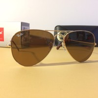 NEW RAY BAN RB3025 001/33 58-14-135 Gold/Brown 58mm AVIATOR Sunglasses