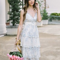 Marissa Ivory Tiered Blue Lace Maxi Dress
