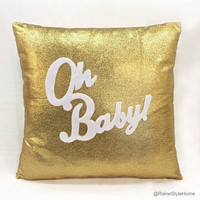 Oh Baby Gold And White Pillow Cover. Chic Children Room Nursery Sparkling Decorative Cushion Cover. Christmas Baby Shower Gift