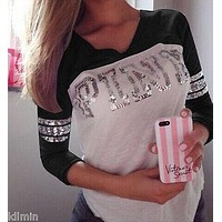 Women Lady Clothes Tops Loose Long Sleeve Casual T-Shirts Shirt Tops Fashion Clothing Autumn New LX
