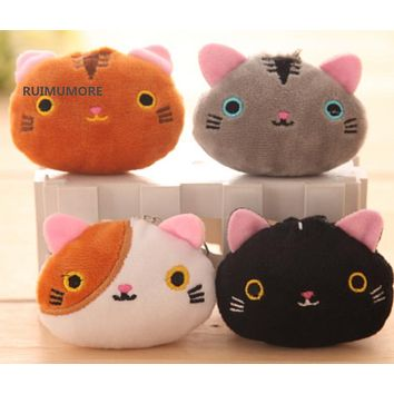 HOT Kawaii 6Colors - Cats 6CM Mini Plush Stuffed TOY doll , Kid's Party Gift key chain Cat Toy Pendant plush TOY