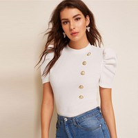 Mock-Neck Puff Sleeve Button Front Blouse Ladies Tops Elegant Slim Fit Solid Short Sleeve Blouse Top
