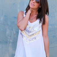 Sequin Chevron Tank {White}