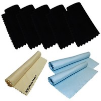 8 Pcs Set - 5 Black Microfiber Cleaning Cloths for Electronic Devices, Lens, Tvs, Ipod, Cell Phones, Digital Cameras, Ipad, Iphone, Sunglasses, Glasses, Samsung, LG, Canon, Nikon, Nokia, Droid, Blackberry + 3 Bonus JB Digital Microfiber Cleaning Cloth (2 B