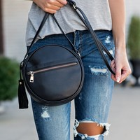 Jolie Circle Leather Trim Crossbody : Black