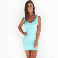 Hot sale fashion sexy straps pure color show thin backless dress (6 color) Blue