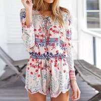 Mixed Print V Neck Long Sleeve Drawstring Romper