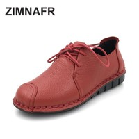 2017 ZIMNAFR BRAND ORIGINAL WOMEN FLATS GENUINE LEATERH CASUAL SHOES  SOFT NON-SLIP FLATS SANDALS WOMEN SHOES SIZE 35- 41