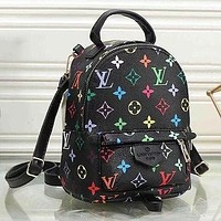LV Louis Vuitton Classic Letter Print Small Backpack Fashion Lady School Bag