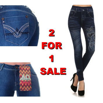 2 For 1: Embroidered Rhinestone Skinny Jean & Butterfly/Orchid Jeggings (Onesize)