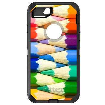 DistinctInk™ OtterBox Defender Series Case for Apple iPhone / Samsung Galaxy / Google Pixel - Rainbow Colored Pencils