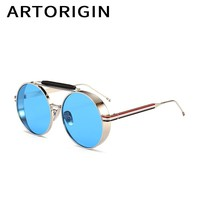 ARTORIGIN Brand Round Sunglasses Men Metal Steampunk Sun Glasses Panel Blue Pink Lens Luxury Eyewear Male gafas de sol hombre