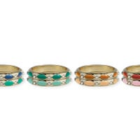 Enamel Diamond Design Ring Set