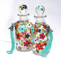 Apothecary Perfume Glass Bottle Hand Painted Flowers Colorful Boho Chic Decor FREE SHIPPING