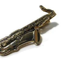 Anson Vintage Saxophone Tie Clip Bar Clasp Gold Tone Musical Instrument Mens Formal Jewelry Retro Musician