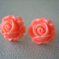 Cabbage Rose Earrings - Coral - Jewelry by FIVE