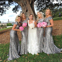 New Silver Sequin Bridesmaid Dresses 2016 Long Mermaid Elegant Bridesmaid Dress Robe Corail