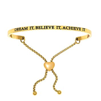 Intuitions Stainless Steel DREAM IT, BELIEVE IT, ACHIEVE IT Diamond Accent Adjustable Bracelet