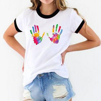 Colorful Palm Print T Shirt