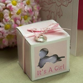 20 It's a Girl Pink Favor Baby Shower Boxes with Thank You Charms and Ribbon