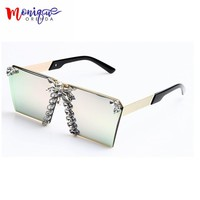 MONIQUE 2017 Fashion Women Sunglasses Luxury Rhinestone Oversize Sunglasses  Vintage eyeglasses frames for Women  UV400