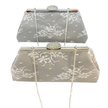 Set of Two Platinum Grey, White Lace and Silver Bridesmaid Gift Clutches