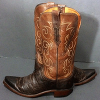 LUCCHESE Brown Two Tone Leather Western Cowboy Cowboy Boots Women's Size 9.5