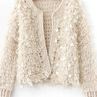 Sequins Long-Sleeve Knitted Cardigan