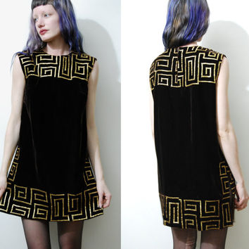70s Vintage AZTEC Dress VELVET Mini Shift Gold Metallic Embroidered Tribal Egyptian Bohemian Hippie Boho Tunic vtg 1970s S M