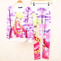 SIMPLE - Barbie Cute Colorful Sweatshirt Shirt Top and Pants Set b4200