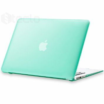 """Steklo - MINT GREEN Rubberized Hard Case for Apple MacBook Air 13.3"""" (Models: A1466 & A1369) Cover Shell - MINT GREEN"""