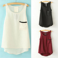 Hot Popular Chiffon Leather Black Red White Solid Top Women Tank Vest