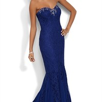 Glitter Lace Strapless Long Homecoming Dress with Stone Neckline