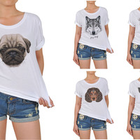 Women Portraits of Dog Graphic Printed Cotton T-shirt  WTS_12