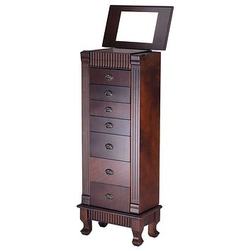 Classic 7-Drawer Jewelry Armoire Wood Storage Chest Cabinet