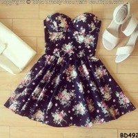 Noemie Floral Bustier Dress with Adjustable Straps - Size XS/S/M BD 492 - Smoky Mountain Boutique