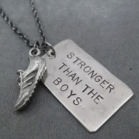 RUN STRONGER THAN THE BOYS with RUNNING SHOE NECKLACE - 3/4 x 1 inch Nickel Silver pendant plus 3/4 inch Pewter Running Shoe Charm priced with Gunmetal Chain