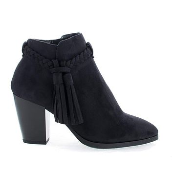 Issey By Delicious, Western Tassel Stacked High Heel Ankle Boots