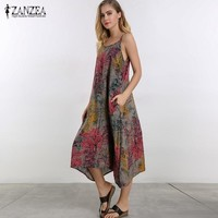 Cotton Floral Print Spaghetti Strap Calf Length Slip Dress