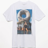 Riot Society Donut Stop Believin' T-Shirt - Mens Tee - White