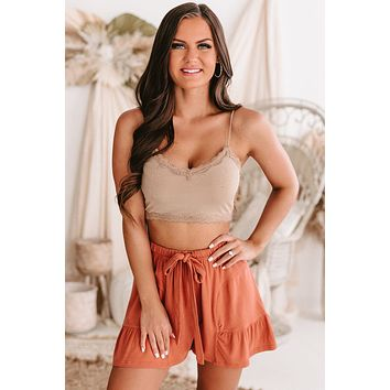 Meaningful Moments Lace Edge Crop Cami Top (Taupe)