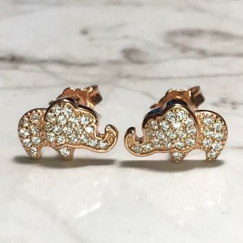NEW 14K Rose Gold Layered on Sterling Silver Elephant withh Stones Earrings