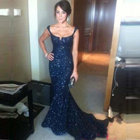 2015 New Design Gorgeous Navy Blue Lace Sequins Mermaid Prom Dresses With Sexy Backless Chapel Train Women Long Evening Gowns