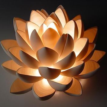 Lotus  by Lilach Lotan: Ceramic Table Lamp - Artful Home