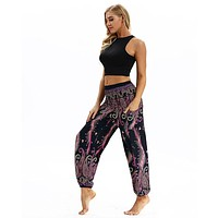 Women Comfy Beach Boho Pants Hippie Woman Summer Wide Leg Pants Harem Floral Loose Trousers Ladies Baggy Casual Pant#s
