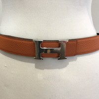 Hermes Belt Silver Buckle With Orange And Blavk Leather Strap