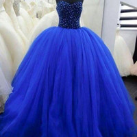 Custom Made Sweetheart Neck Royal Blue Prom Gown, Royal Blue Prom Dresses, Formal Dresses