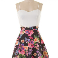 Floral Dress with Side Cut Outs - Navy