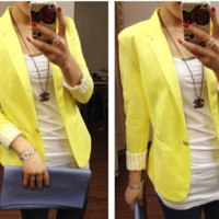 Pretty in Yellow Blazer from P.S. I Love You More Boutique