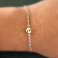 Personalized Sterling Silver Heart Initial Bracelet Flower Girl Gift Bridesmaid jewelry Flower girl gift